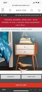 Two West Elm bedside tables - walnut and white