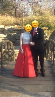 Red and Silver jeweled prom dress