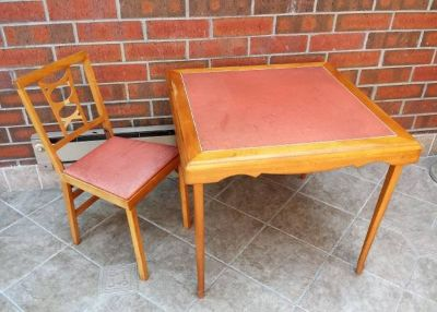 Vintage Leg-O-Matic Folding Table and Chair Mid Century