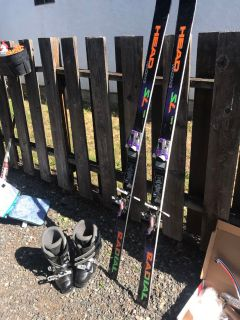 Head Racing skis and 8.5 ladies sizes boots