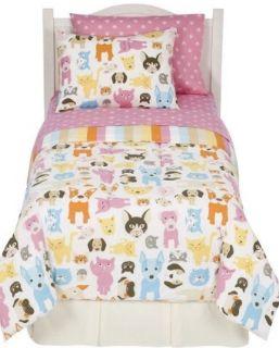 Bow Wow Meow Kitty Cat & Puppy Dog Twin Reversible Comforter Sheet Set Circo