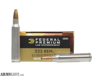 For Sale: 600 rounds of Federal 62gr sp plated 223s (LE223T3)