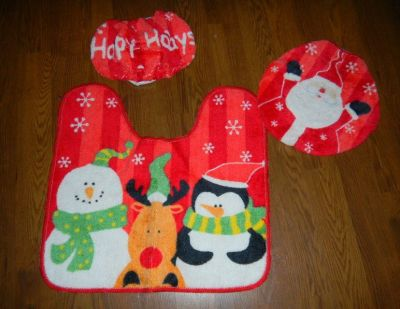 3 Piece Christmas Toilet Seat Lid Cover Floor Mat Santa Snowman Penguin Reindeer Happy Holidays ...