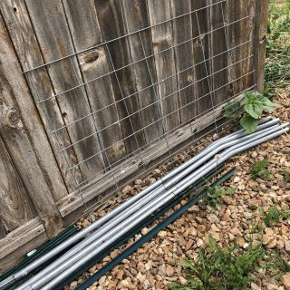 Half hog panel great for trellising, 5 trellising poles and stakes selling together- PRICE FIRM AND FINAL