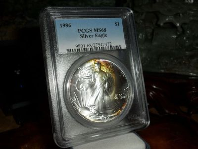 Exceptional and Beautiful 1986-P American Silver Eagle MS 68 PCGS Rainbow Tone on Obverse Side
