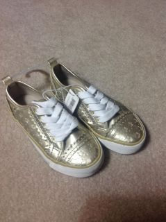 New Girls gold sneakers size 12