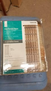 """Style Selections 84in """"Straw"""" Rod Pocket Curtain Panel"""
