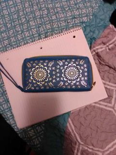 Cute Blue and Gold with Giraffe Print Inside Wallet