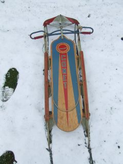 Comet Snow Sled Wood & Metal 1950's