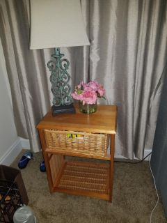 Wicker table with drawer