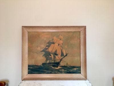 Vintage Lithograph Sailing Ship Signed