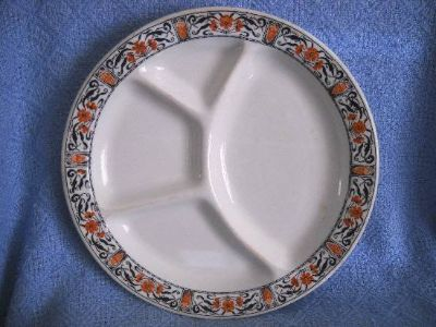 McNicol China Grill Plate Clarksburg W.Va. Rare has 4 sections Vintage
