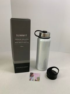 Simple Modern Summit 40oz Water Bottle + Extra Lid - Wide Mouth Vacuum Insulated 18/8 Stainless Steel Powder Coated, Shimmer Selenite