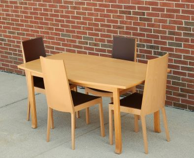 Modern Scandinavian Blonde Beech Dining Table with