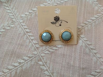Pretty Teal Green and Gold Pierced Earrings