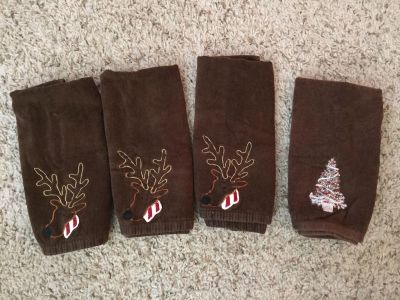 Brown Christmas hand towels for bath $6 for all