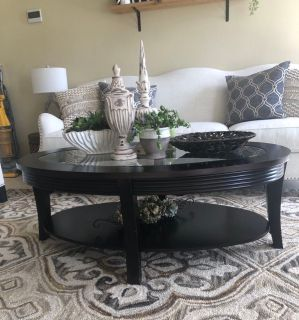 Solid wood with glass top coffee table