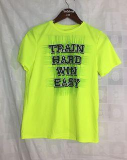 Tek Gear Youth DryTek Neon Yellow/Black Short Sleeve Polyester Shirt Sz XL