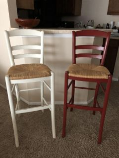 Red and White Bar Stool Chairs $40 OBO