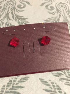 Pretty Red Crystal Square Post Earrings - Swap Only