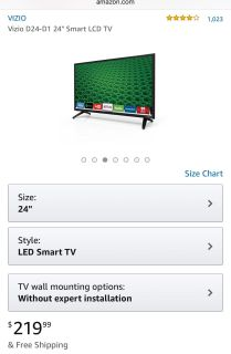 Vizio 24 Flatscreen Smart TV (Barely Used) with Wall Mount included. $75 OBO (Remote missing battery holder)