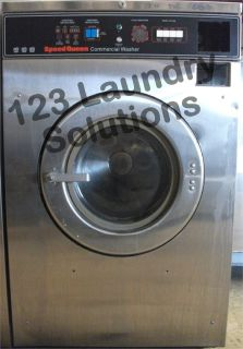 Coin Operated Speed Queen Front Load Washer 208-240v Stainless Steel SC35MD2YU40001 Used