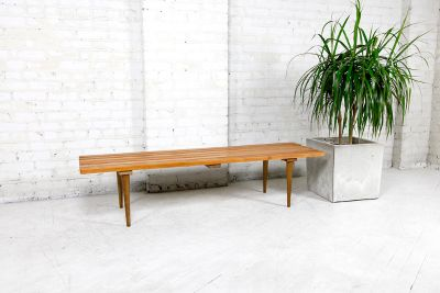 MCM slated bench seat / coffee table