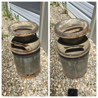 Milk can with rusted areas