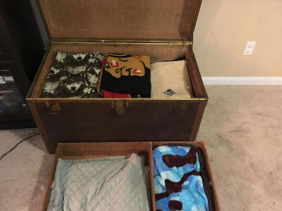 U.S.Trunk Co. issued trunk; vulcanized fibre; RARE find!! Beautiful piece of history! Great talking piece! Must move! Make offer!