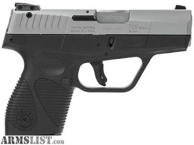 "For Sale: Taurus 1709039FS 709 Slim SA/DA 9mm 3"" 7+1 Black Polymer Grip SS Slide SHIPS FREE"