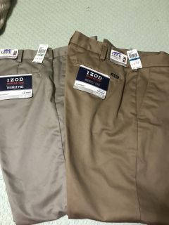 Men s Izod Pants. Brand New. They have been Altered. Dark Brown are 28/36. The other one 28/34. $ 15.00 EACH
