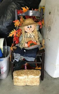 Vintage Chair with Scarecrow, Hay, Silk Leaves