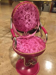 """Beauty Salon Shop Chair Battat fits 18"""" American Girl doll Our Generation Hot Pink"""