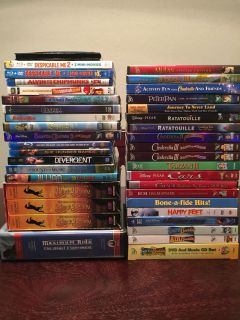 DVDs and blu-rays: Disney, Pixar, and more