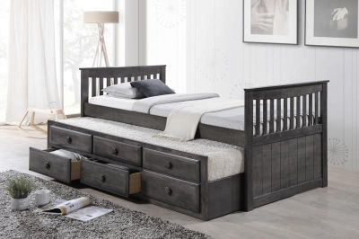 NEW! QUALITY GREY FINISHED WOOD TWIN CAPTAIN BEDFRAME W/TRUNDLE + USA MATTRESS!