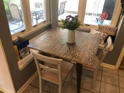 36x36 square table Industrial style with two IKEA chairs
