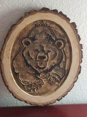 Carved Bear Wood Plaque