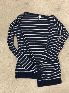 Navy and white cardigan with pockets