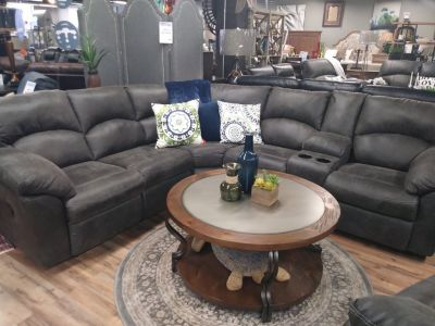 BRAND NEW PEWTER RECLINING SECTIONAL