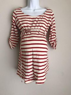 Red and cream maternity top