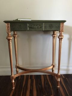 Green and copper wood table