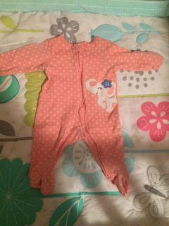 Pink sleeper with cute elephant from carters