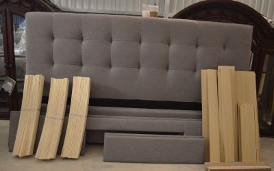 Grey Tufted Queen Bedframe and Boxspring