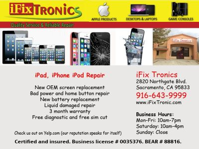 Professional iPhone repair in Natomas * New OEM parts in stock * 1 hour service