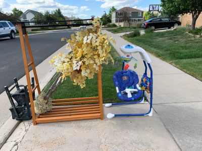 Free stuff in canterberry. Clothing rack tree swing and fixable stool