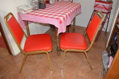 Red Stacking Dining Chairs - 2