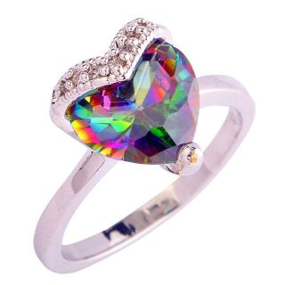New - Heart Rainbow Topaz Ring - Size 8