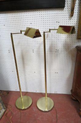 Vintage MCM pair of Koch+Lowy brass floor lamps