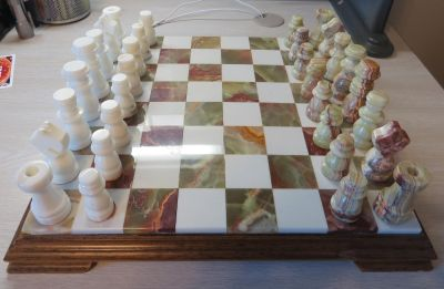 Onyx Chess & Checkers Set - Hand carved in Italy.