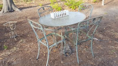Old Wrought Iron picnic table and Cairs